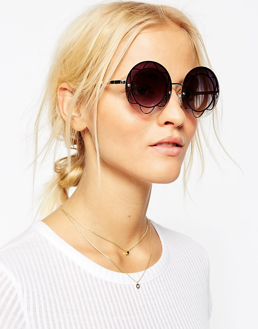 5cdc7222c74 Lyst - ASOS Oversized Round Sunglasses With Flower Inset Metal in ...