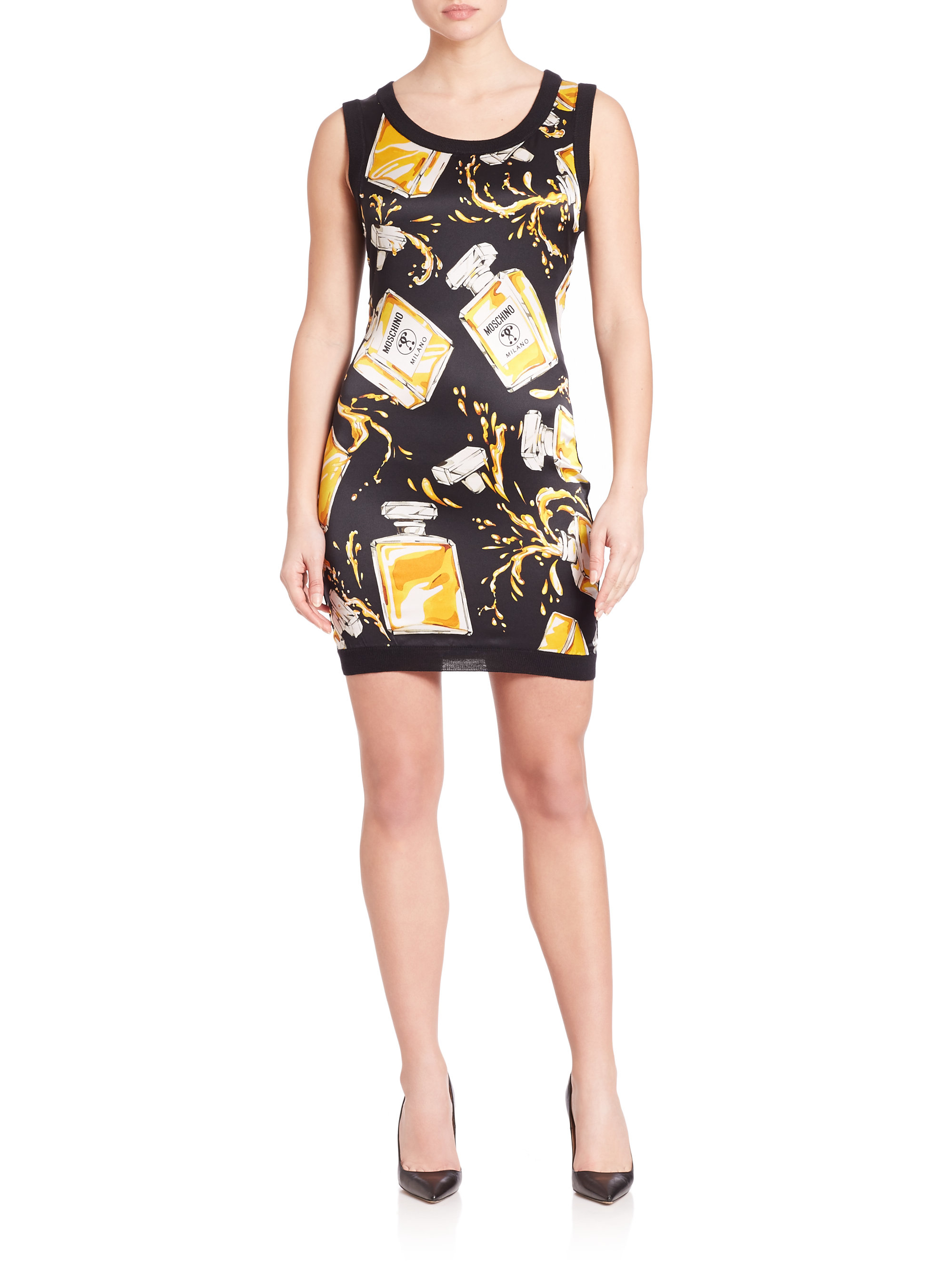 Moschino Sleeveless Perfume Bottle Print Dress In Black Lyst