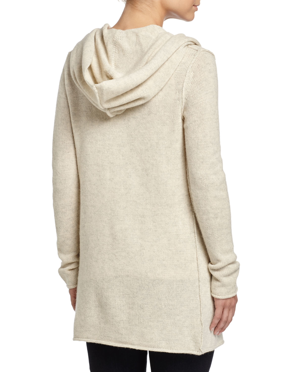 Vince Sophie Long Hooded Cardigan In Gray Lyst