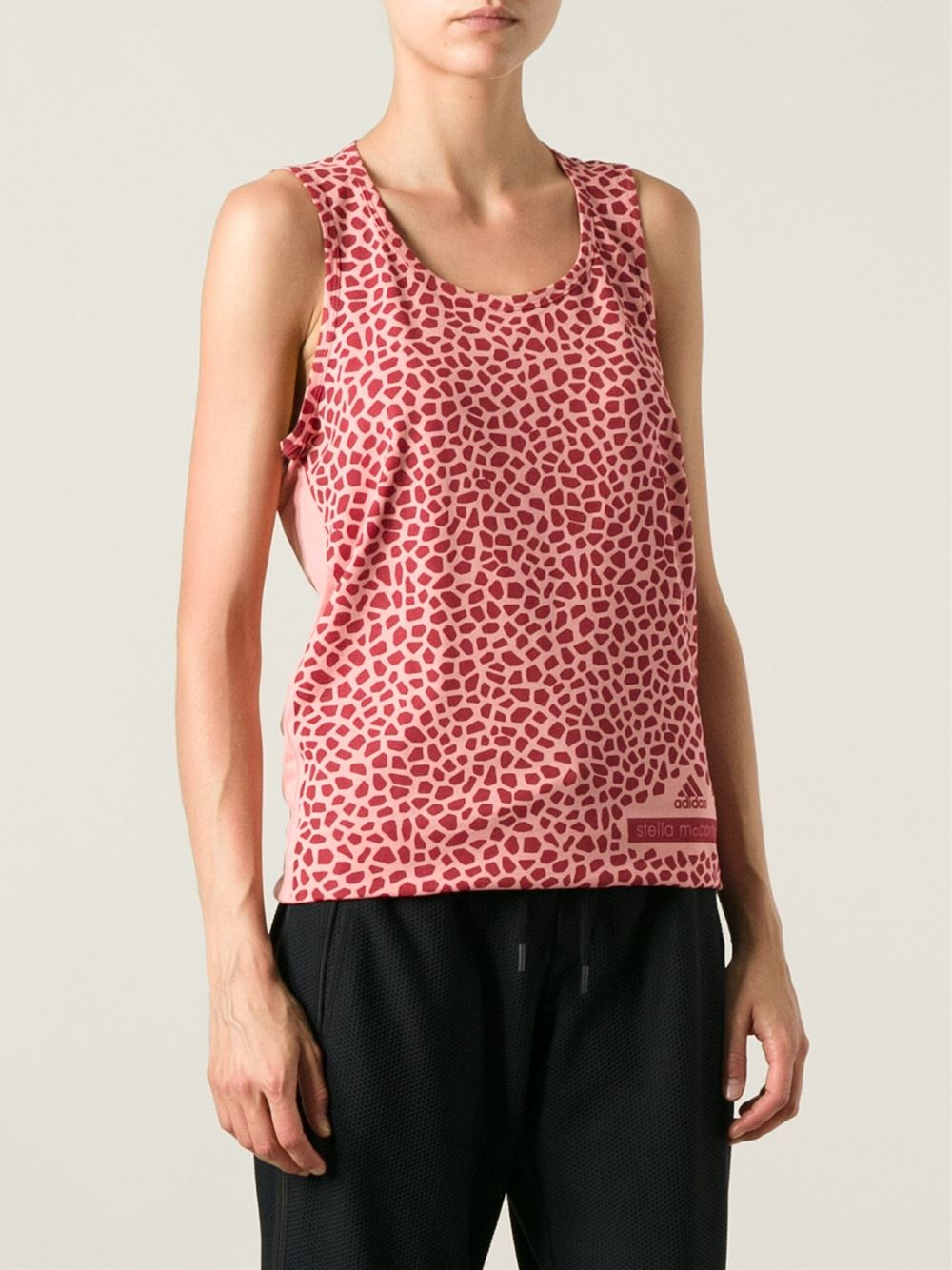 adidas by stella mccartney 39 run 39 tank top in red lyst. Black Bedroom Furniture Sets. Home Design Ideas