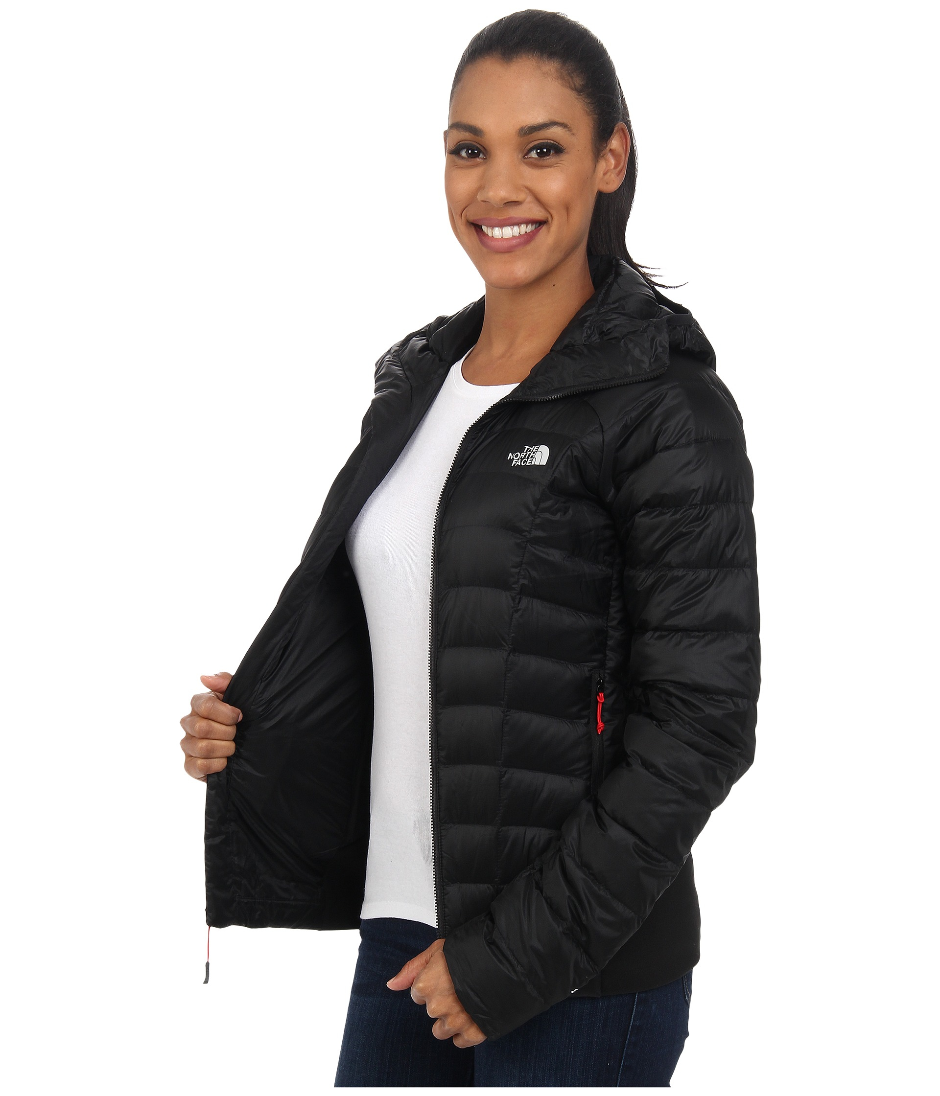 57c1dbe7ce ... low price lyst the north face quince hooded jacket in black ee0ac 0890d