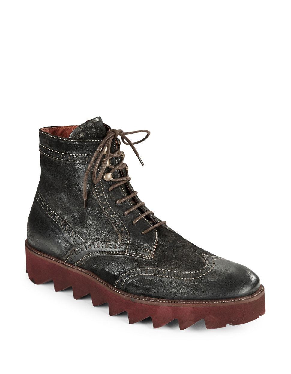 donald j pliner myle suede wingtip boots in brown for