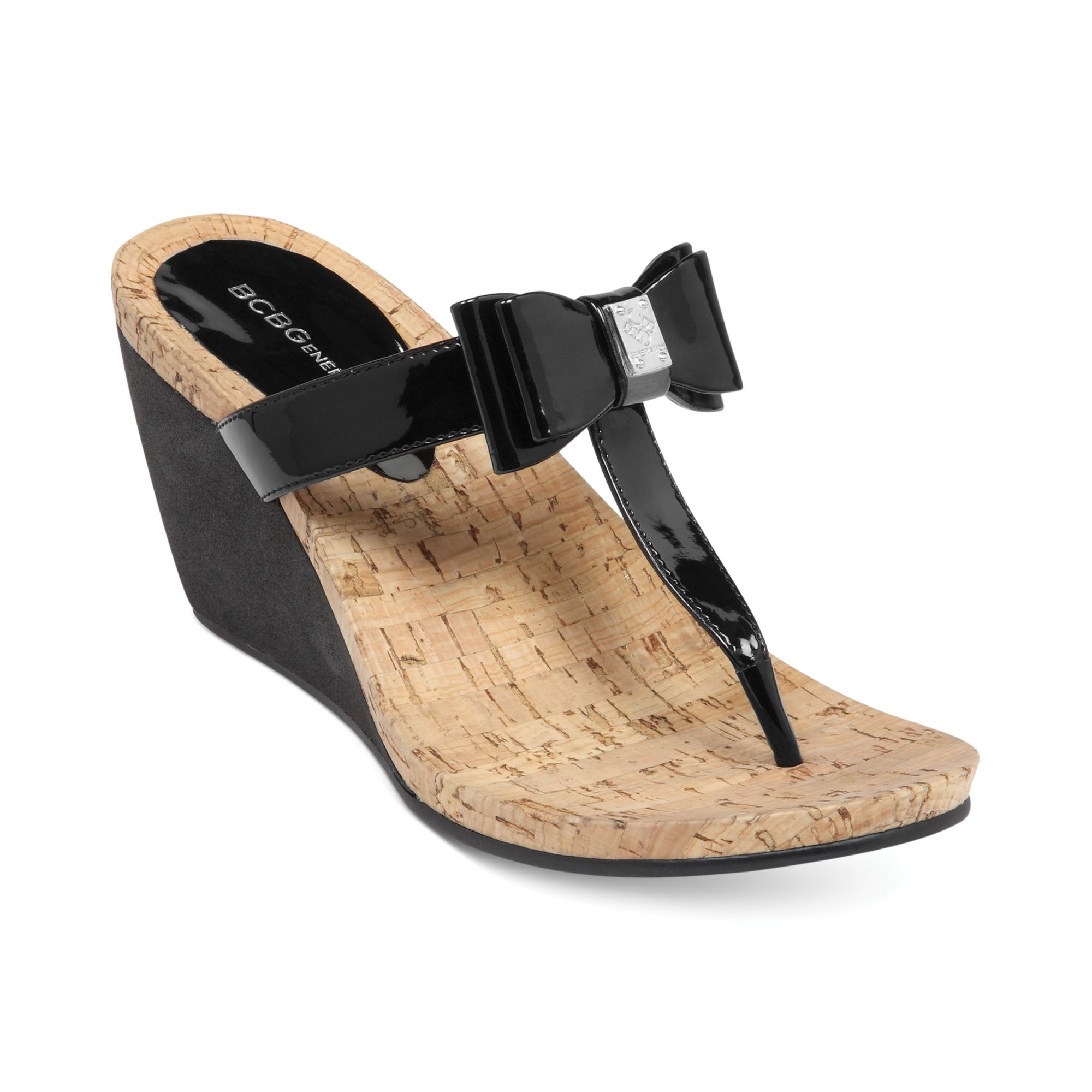 Bcbgeneration Michelle Wedge Thong Sandals In Black Lyst