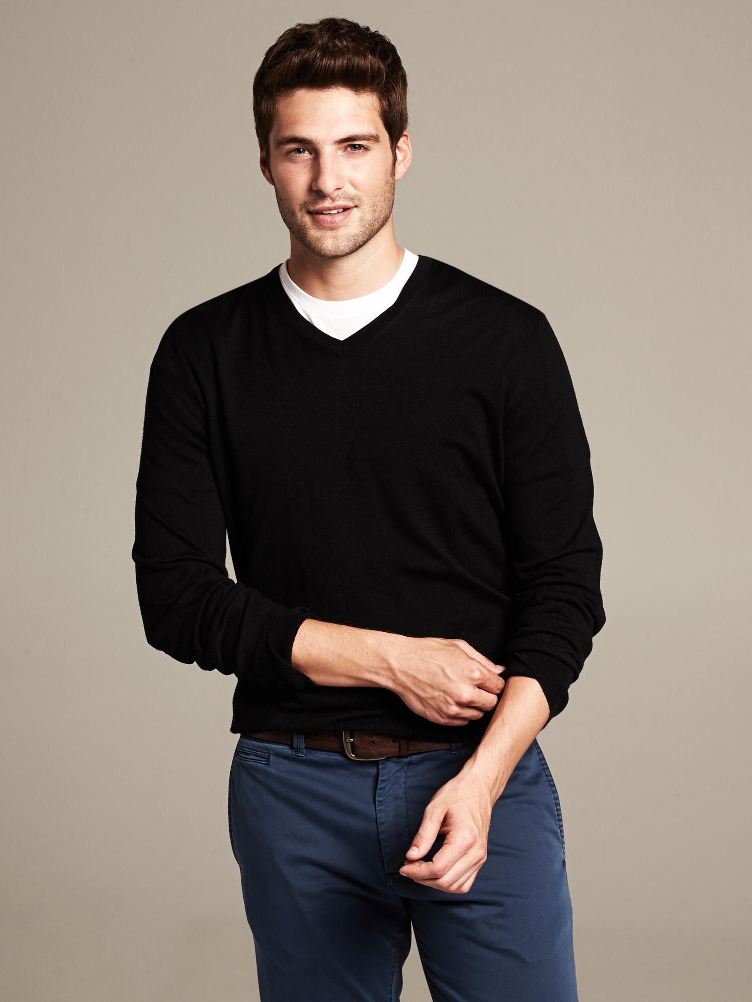 Black V Neck Sweaters