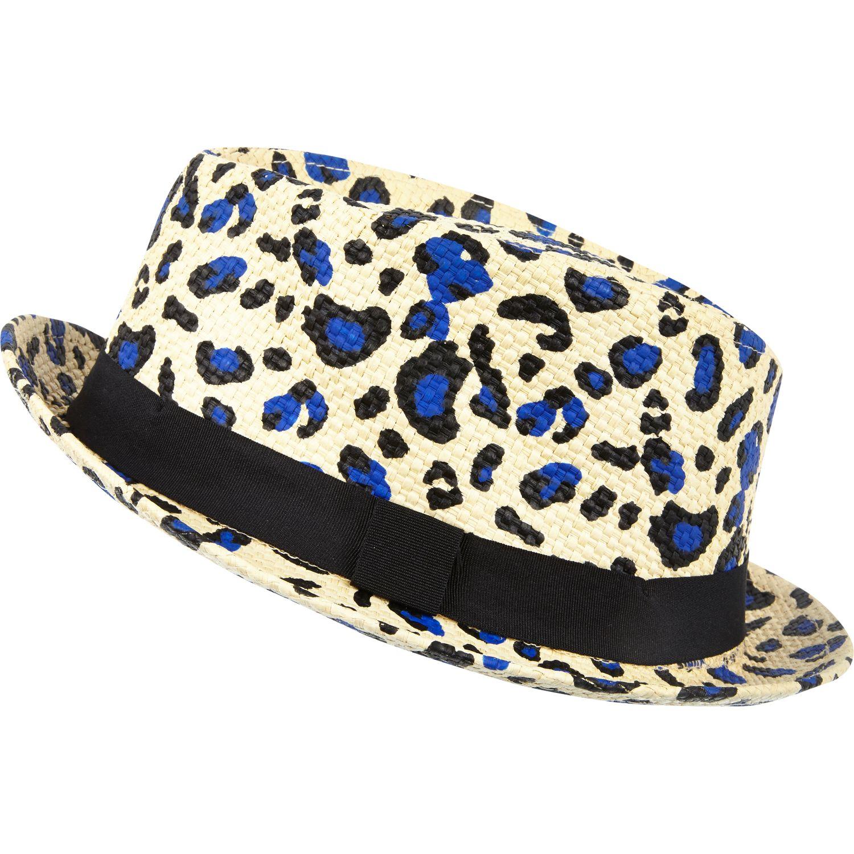 6fba8b07d River Island Ecru Leopard Print Straw Trilby Hat - Lyst