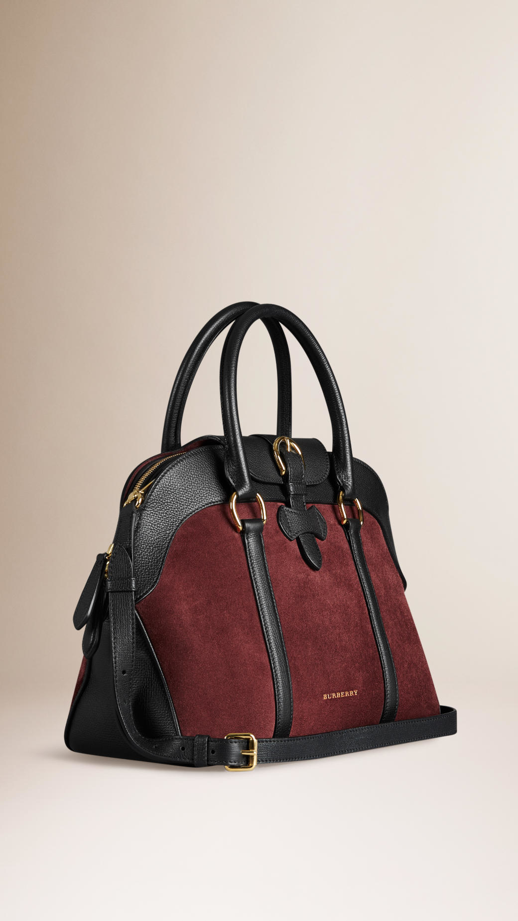 36848ffcaf2f Lyst Burberry Suede And Leather Bowling Bag In Black
