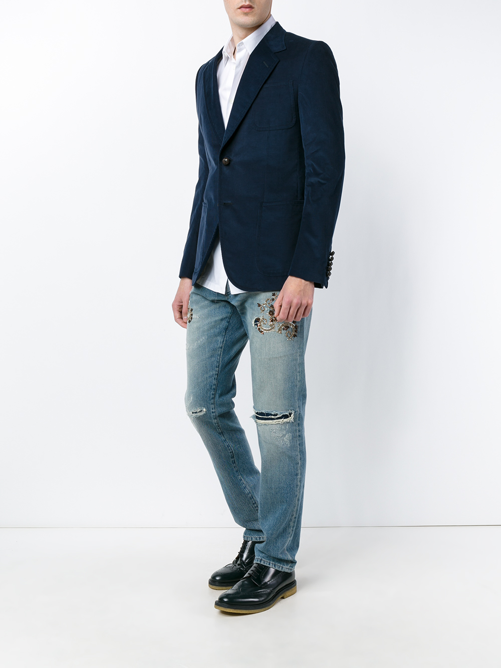 Dolce & Gabbana Denim Ripped And Embroidered Jeans in Denim (Black) for Men