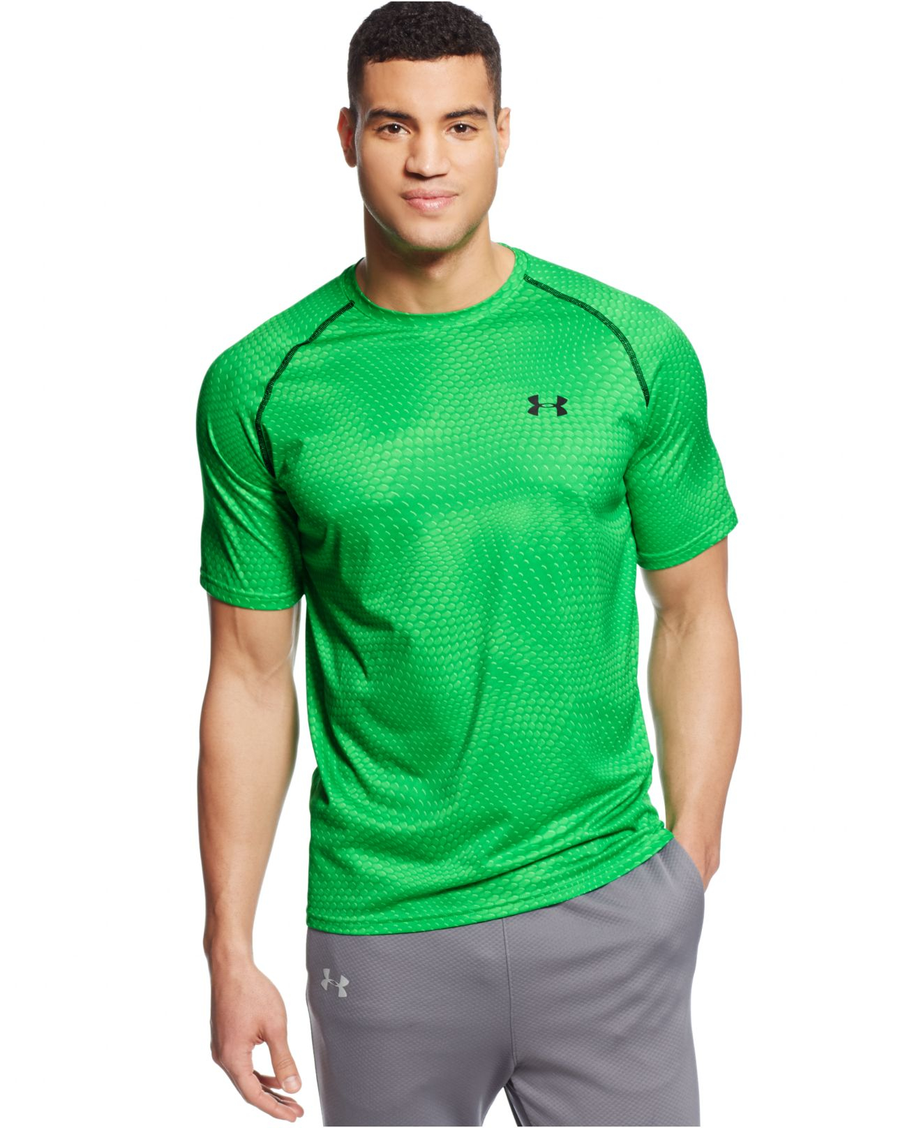 Under armour tech short sleeve t shirt in green for men lyst for Under armour i will shirt