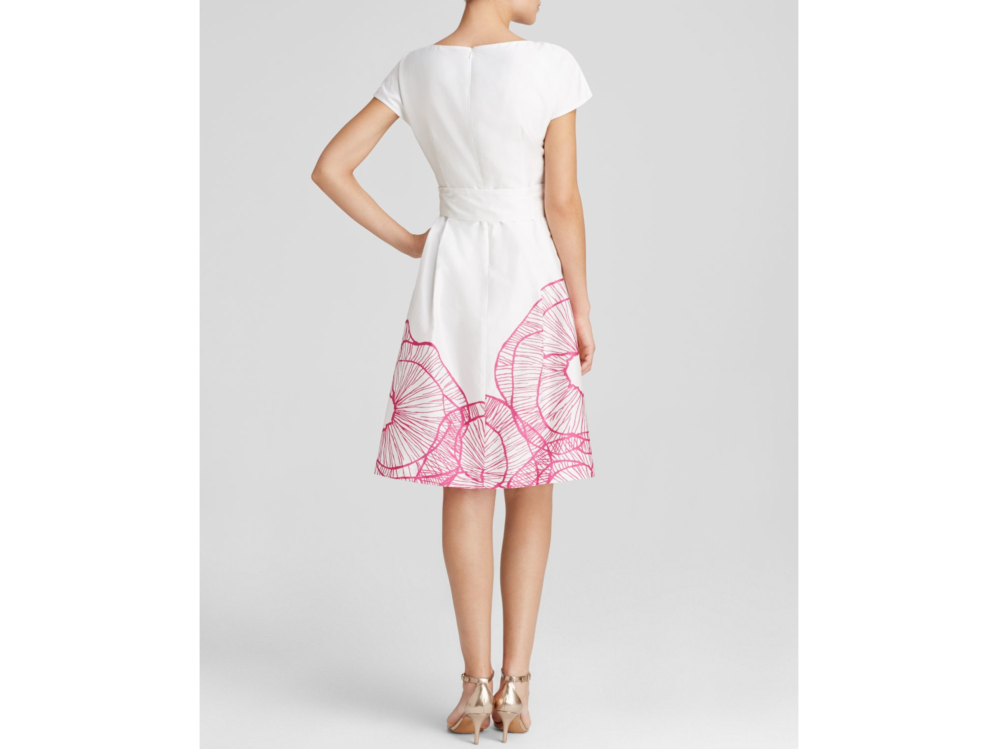 Anne Klein Dress Cap Sleeve Floral Print Fit And Flare