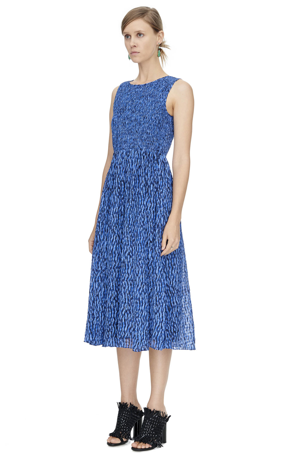 Rebecca taylor Batik Mirage Silk-Blend Dress in Blue - Lyst