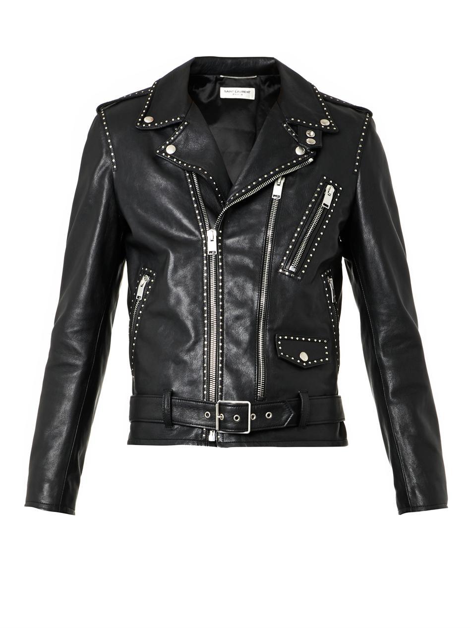 Saint Laurent Studded Leather Biker Jacket In Black For