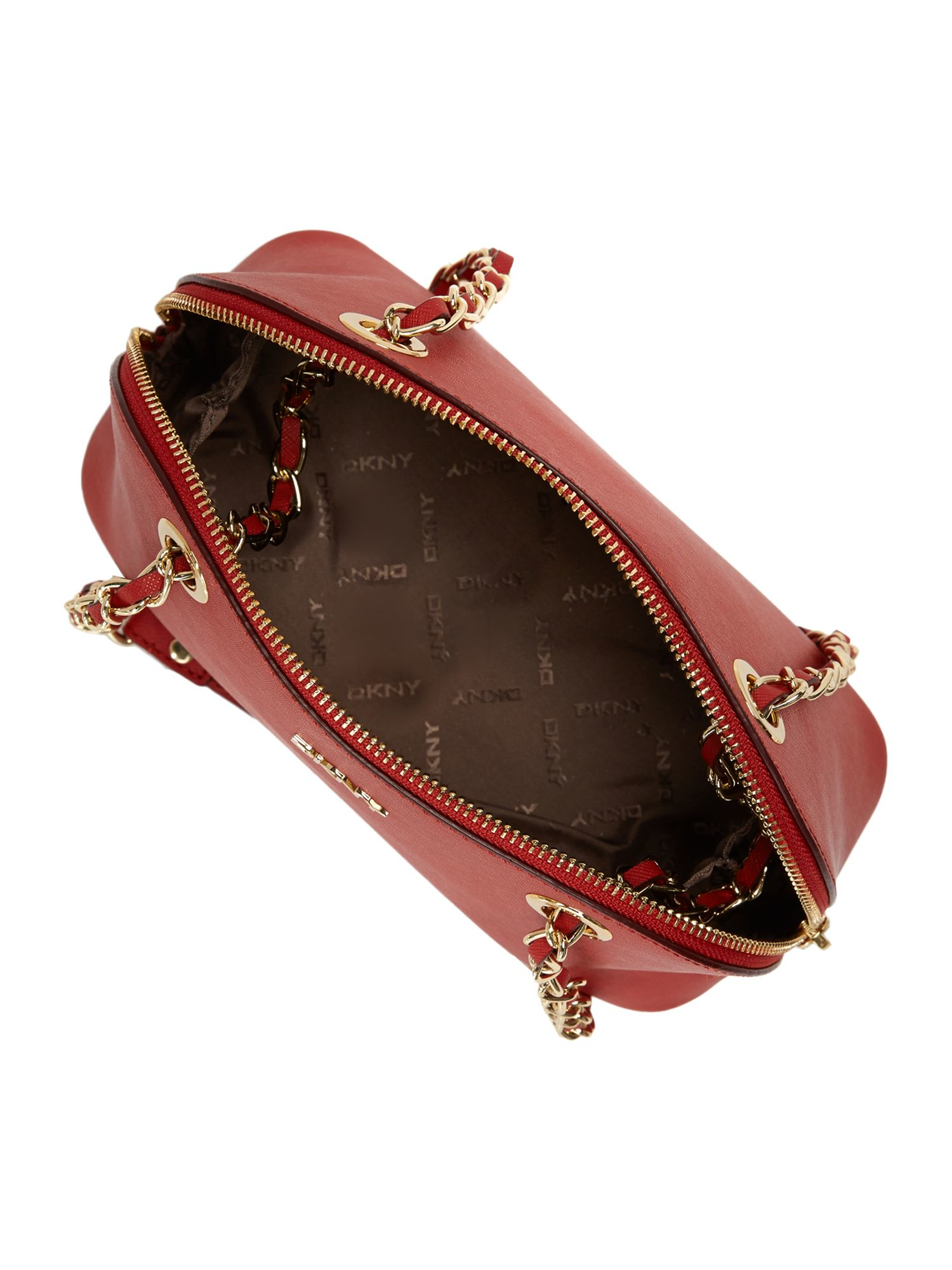 DKNY Leather Saffiano Red Small Rounded Cross Body Bag