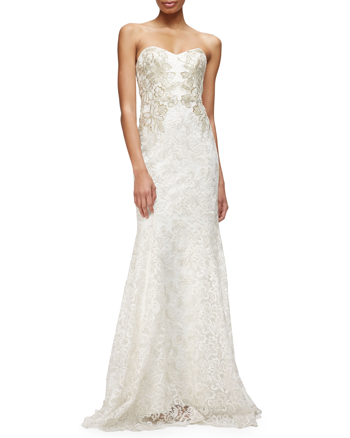 Notte by marchesa Strapless Sweetheart Lace Mermaid Gown