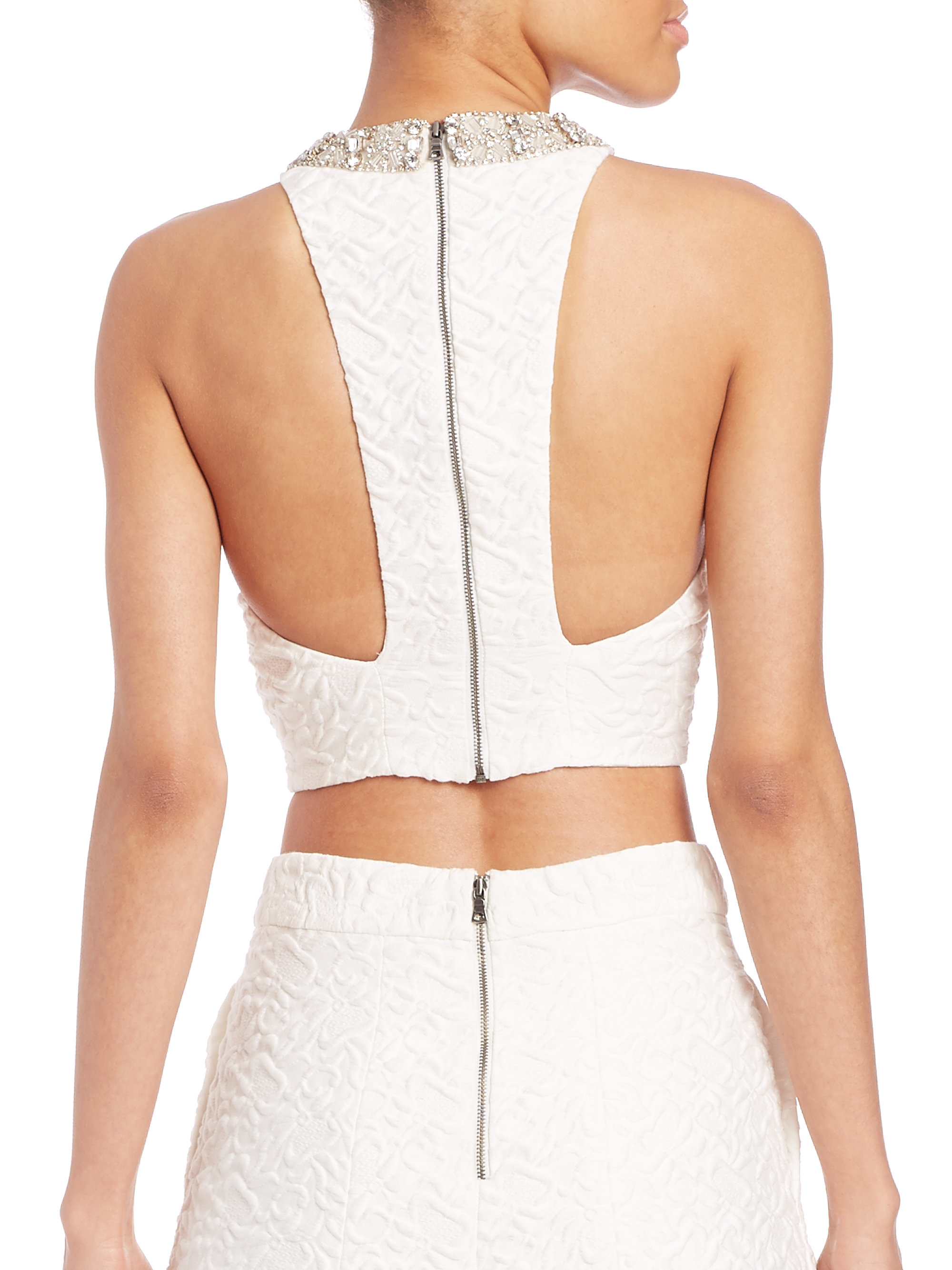 671c9928943b6 Lyst - Alice + Olivia Embellished Racerback Crop Top in White