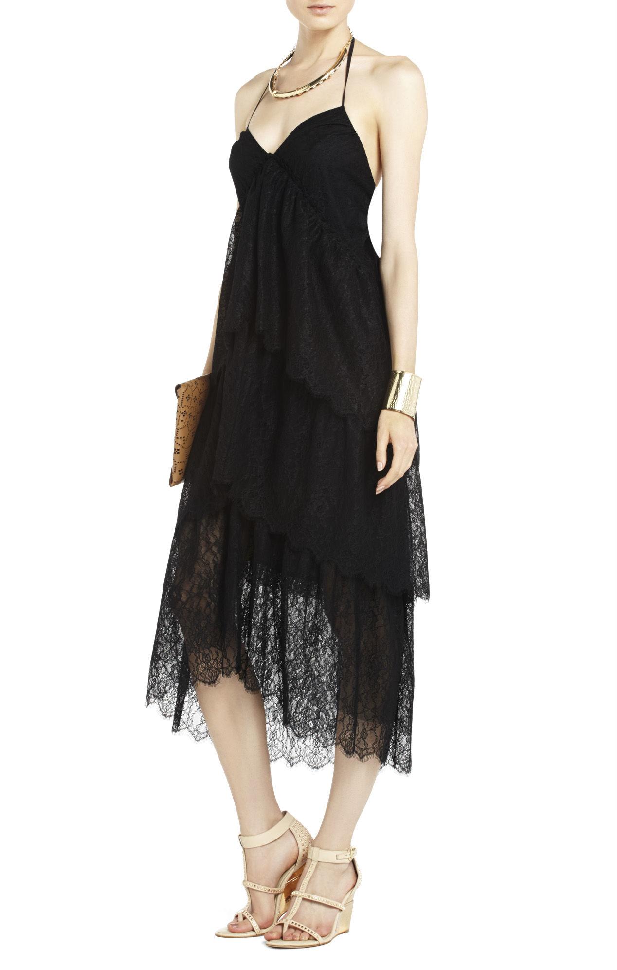 Bcbgmaxazria Kat Lace Tiered Dress In Black Lyst