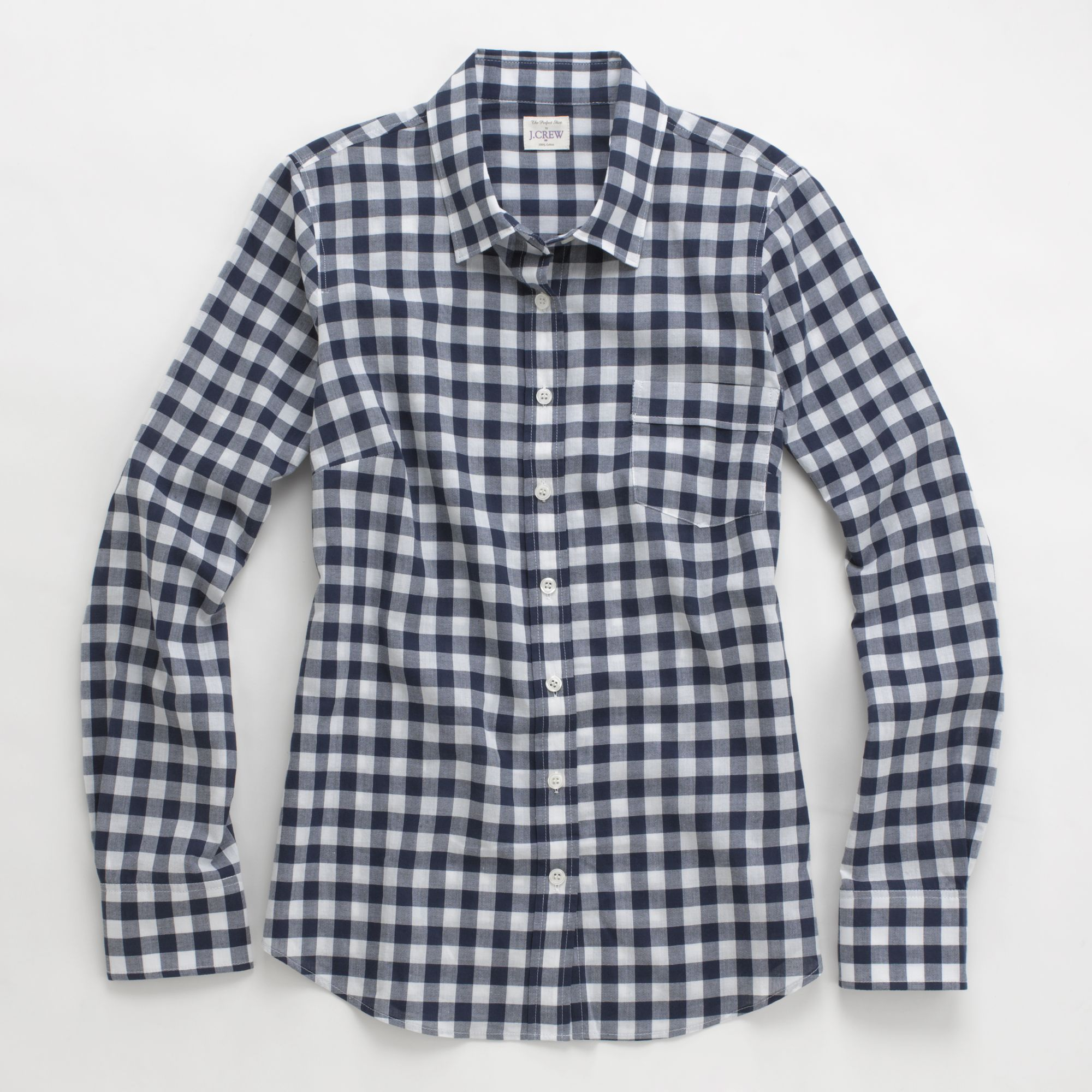 Factory classic buttondown shirt in gingham in blue for Navy blue gingham shirt