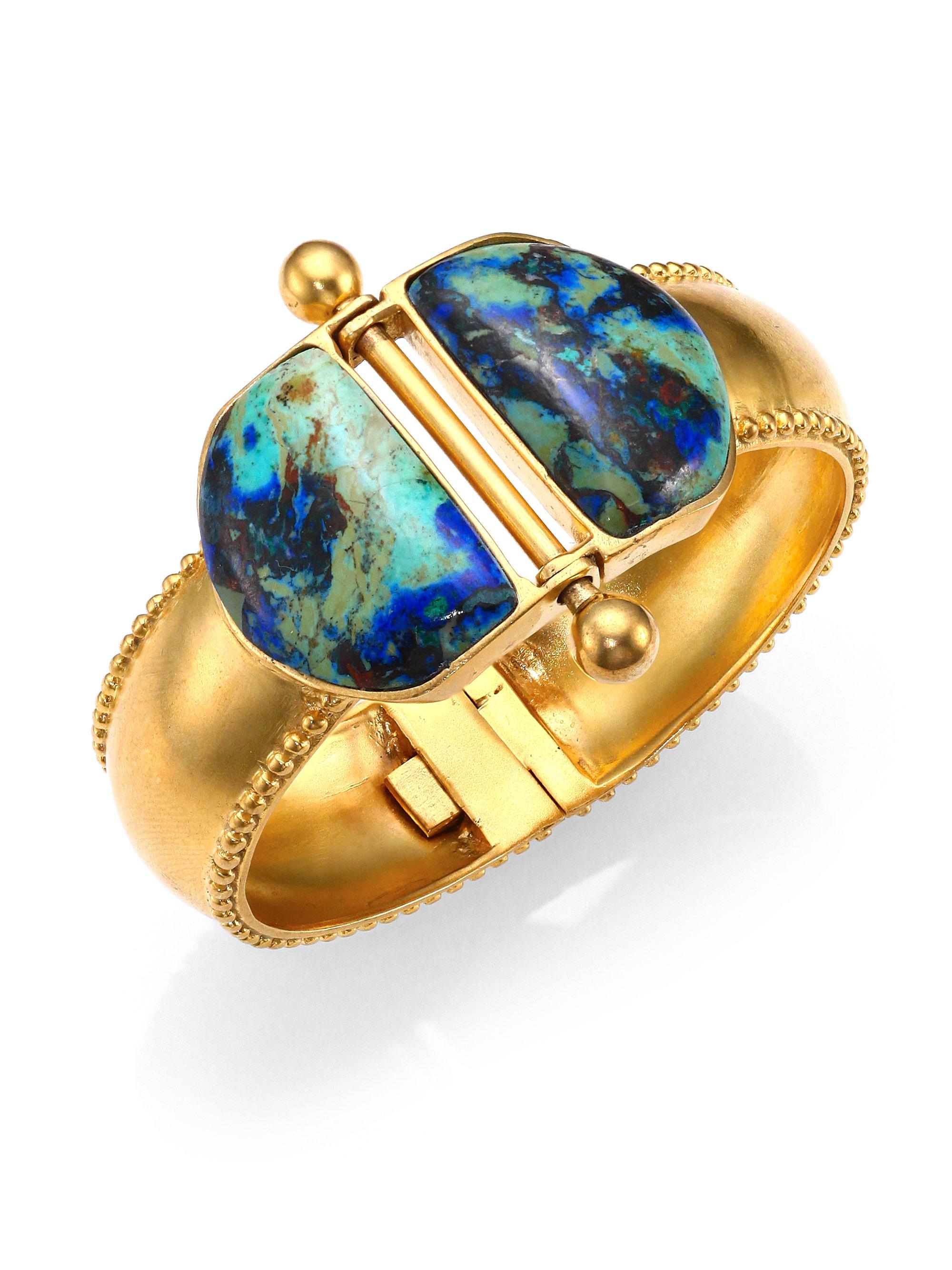 A Peace Treaty Blue Loki Azurite Malachite Double Dome Hinged Bracelet