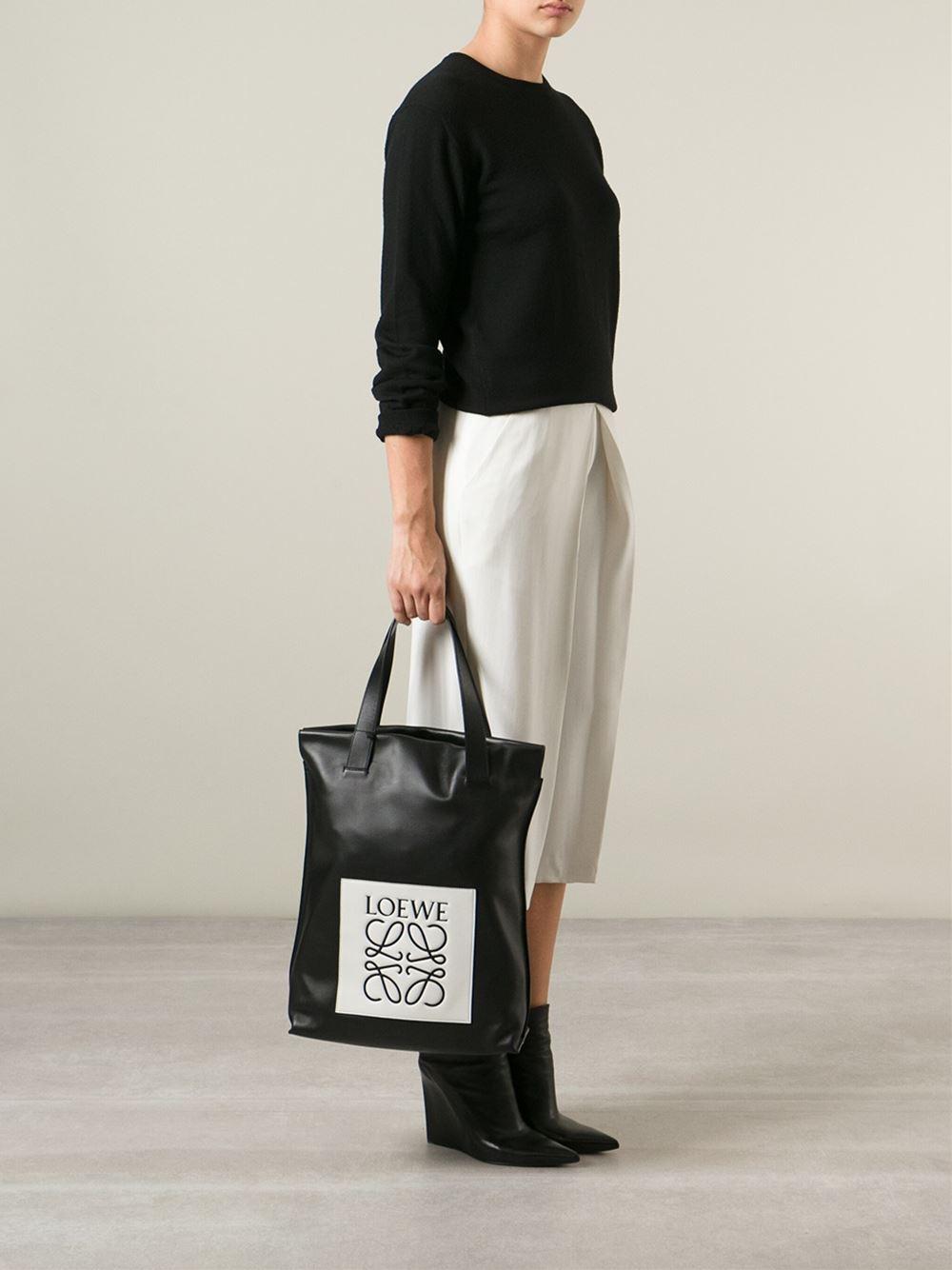 Lyst Loewe Logo Shopping Tote In Black