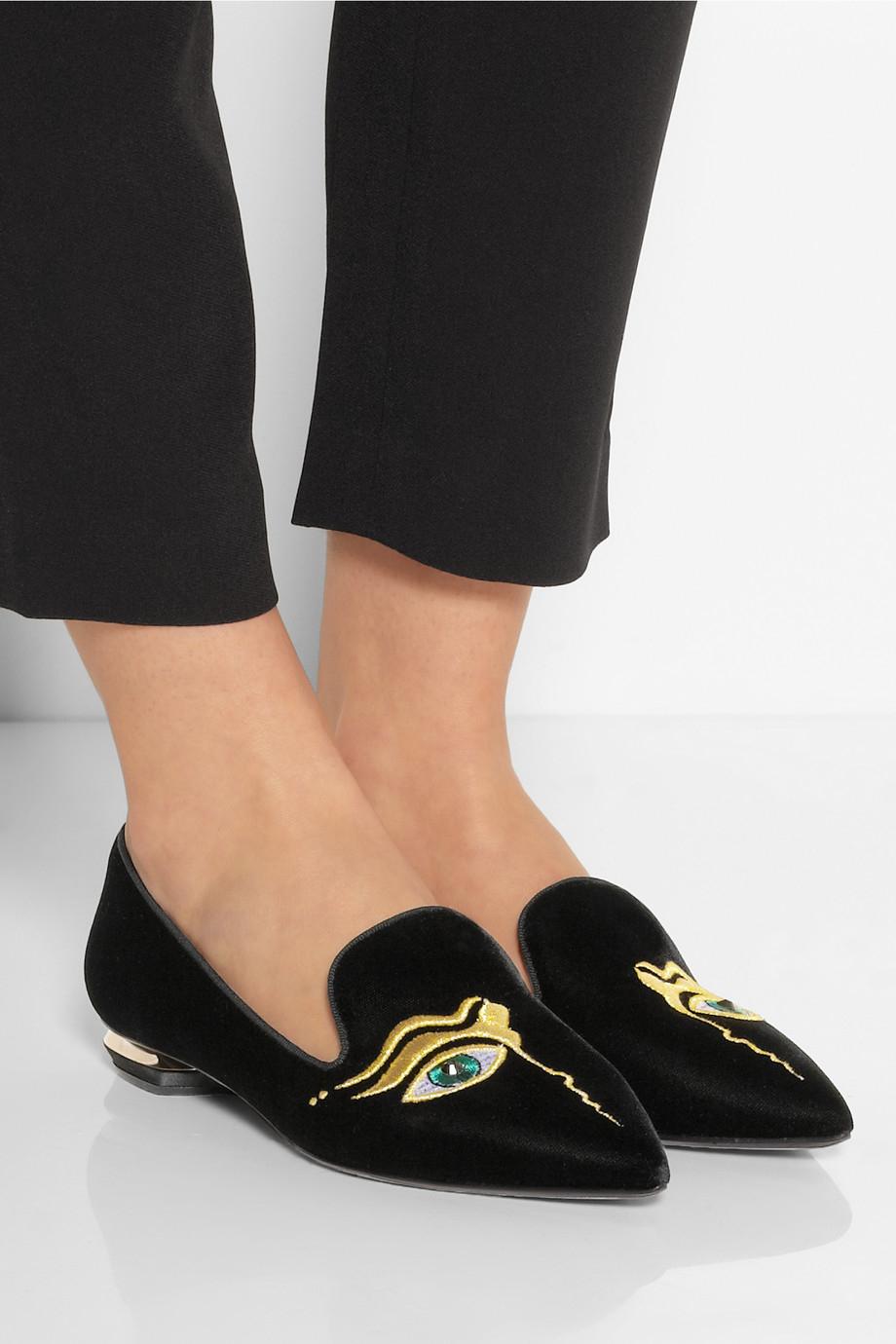lyst nicholas kirkwood embroidered velvet point toe flats in black. Black Bedroom Furniture Sets. Home Design Ideas