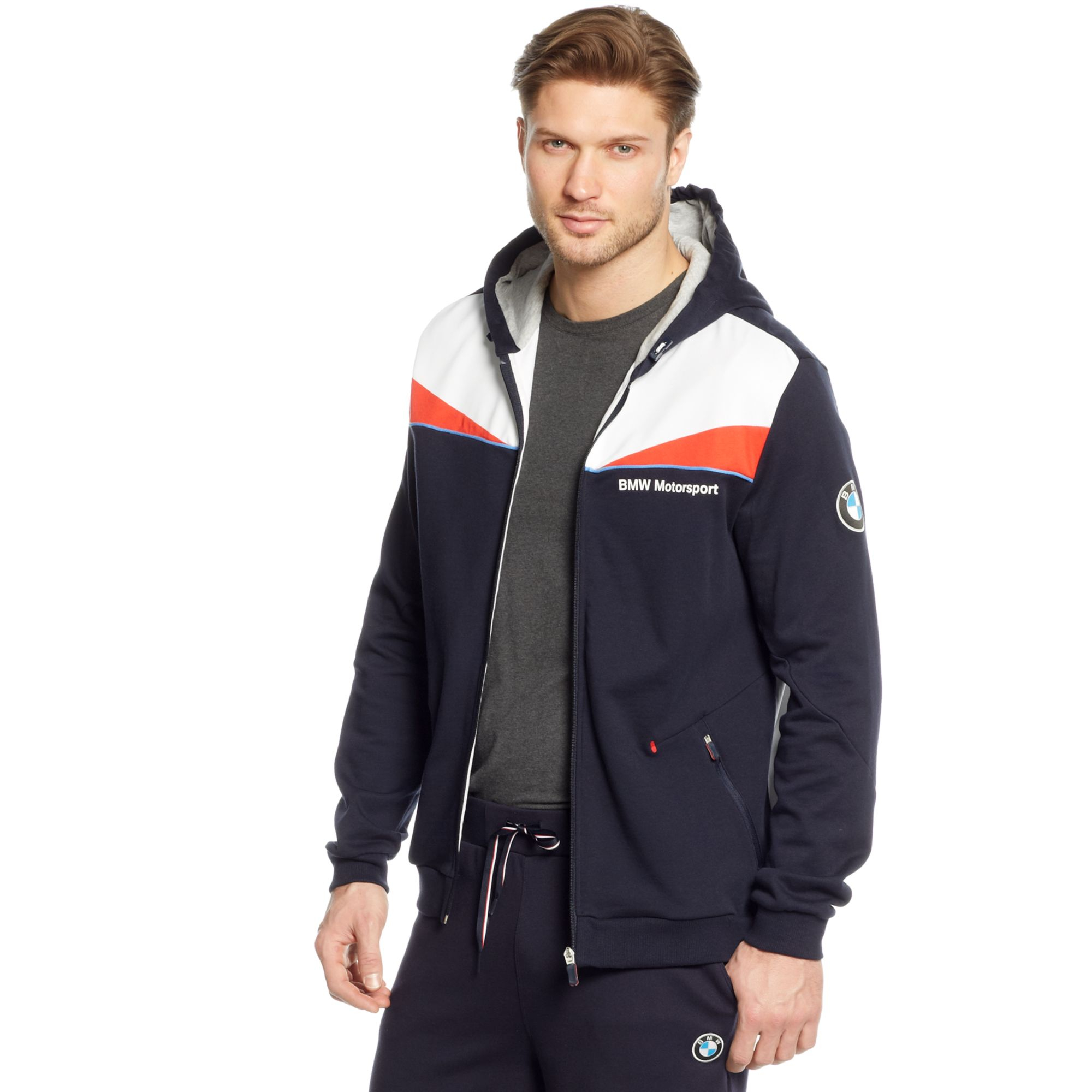 Lyst Puma Bmw Hooded Sweat Jacket In Blue For Men
