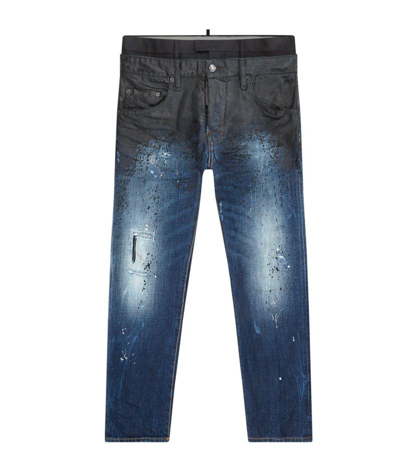 Dsquared² Oil Spill Skater Jeans in Blue for Men