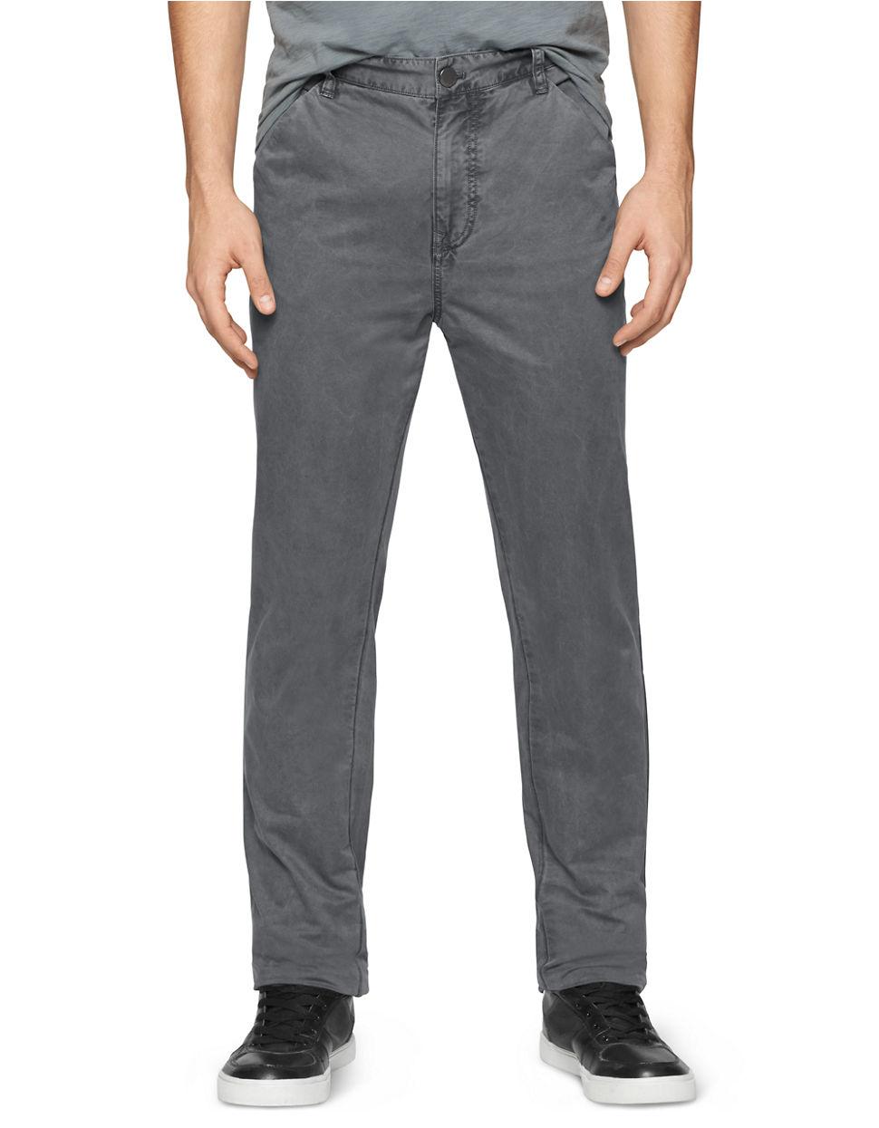 calvin klein jeans slim straight trouser pants in gray for. Black Bedroom Furniture Sets. Home Design Ideas
