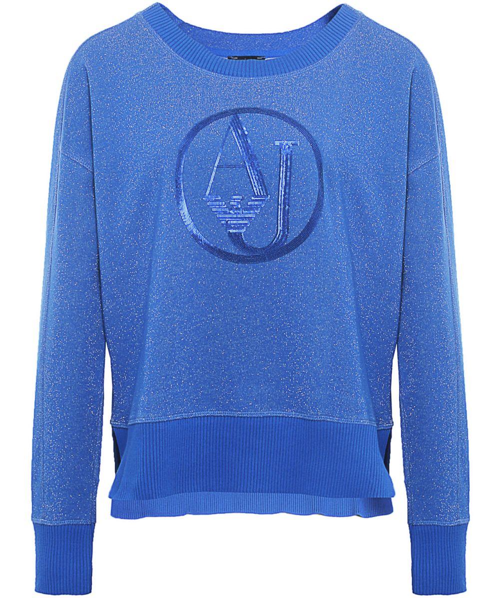 Armani jeans Glitter Logo Sweater in Blue | Lyst