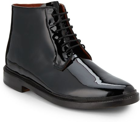 florsheim by duckie brown patent leather laceup ankle
