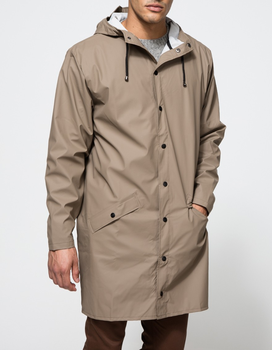 Lyst rains long jacket in soil in natural for men for Bear river workwear shirts