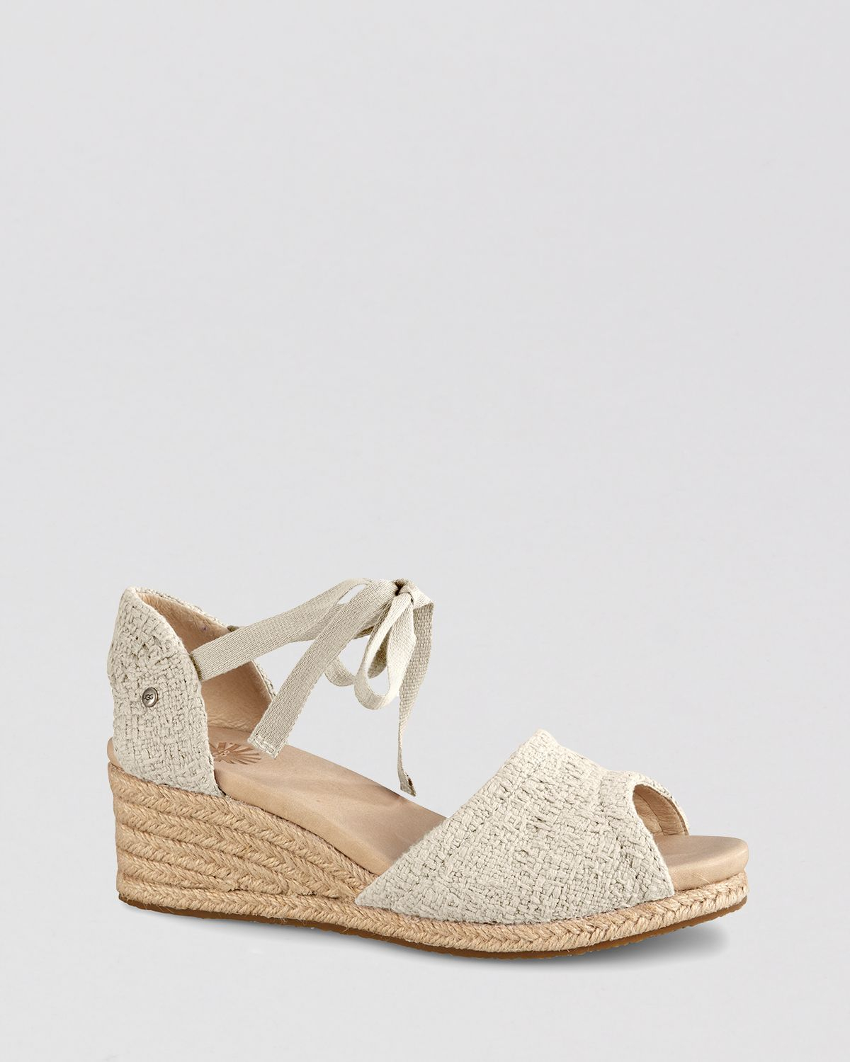 d521c30afb3 UGG Natural Peep Toe Platform Espadrille Wedge Sandals Delmar