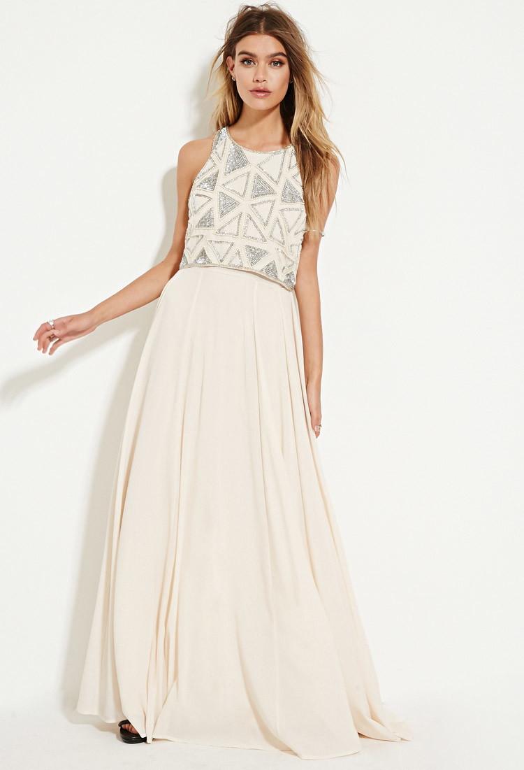 Sequined chiffon maxi dress