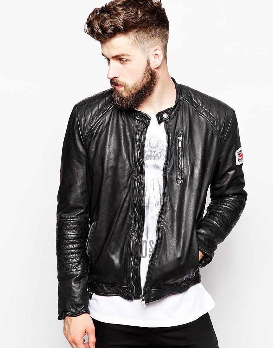 pepe jeans pepe leather jacket new lennon slim fit biker. Black Bedroom Furniture Sets. Home Design Ideas