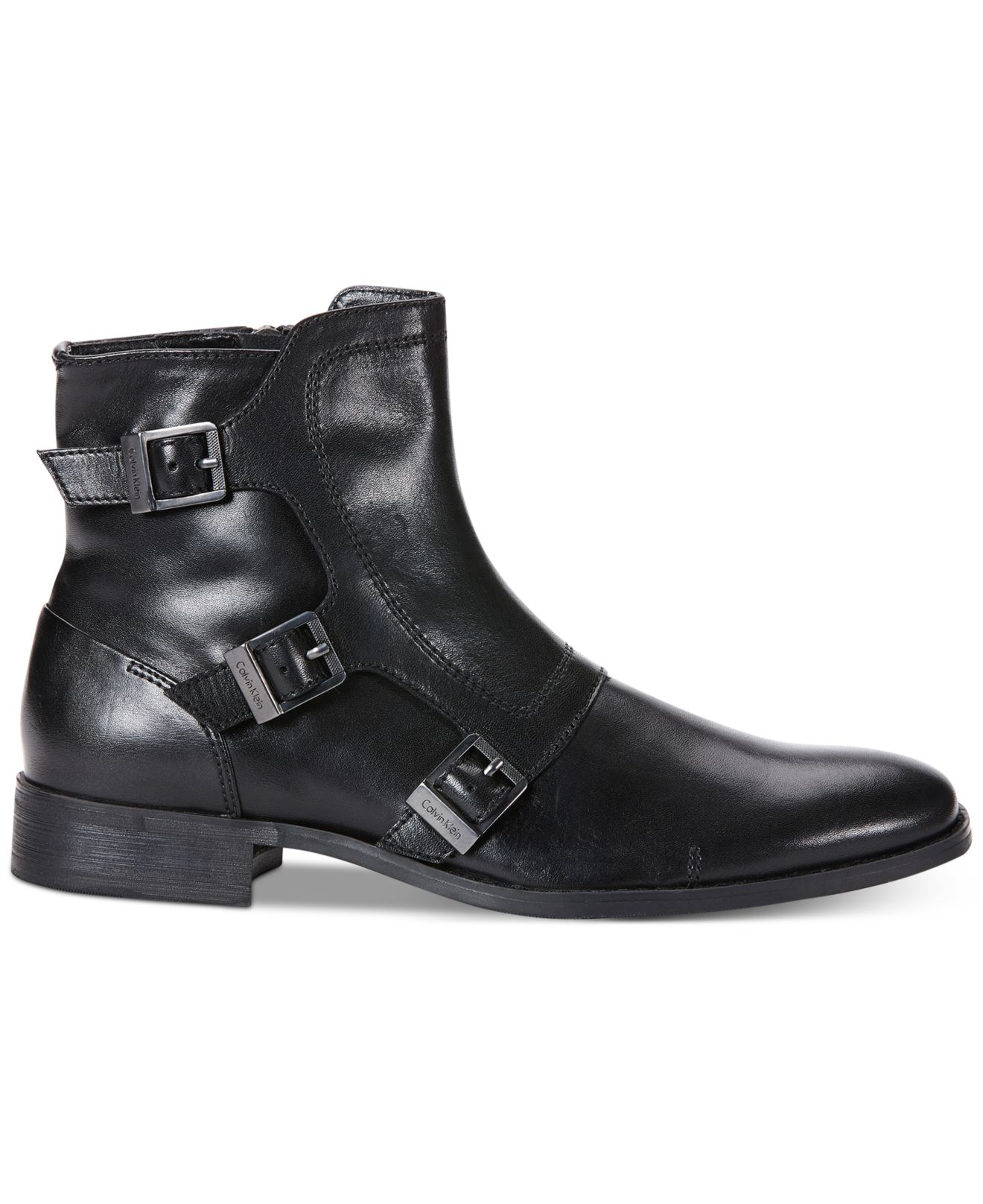 calvin klein stark leather boots in black for lyst