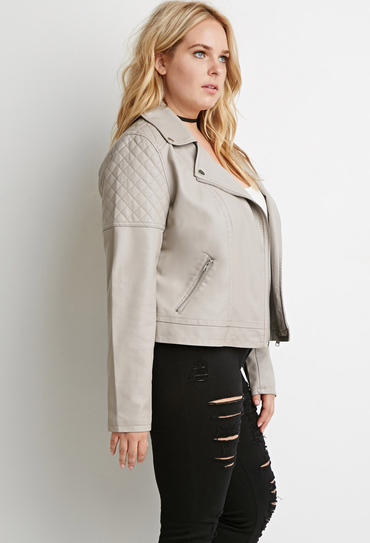 Forever 21 Plus Size Quilted Faux Leather Moto Jacket In