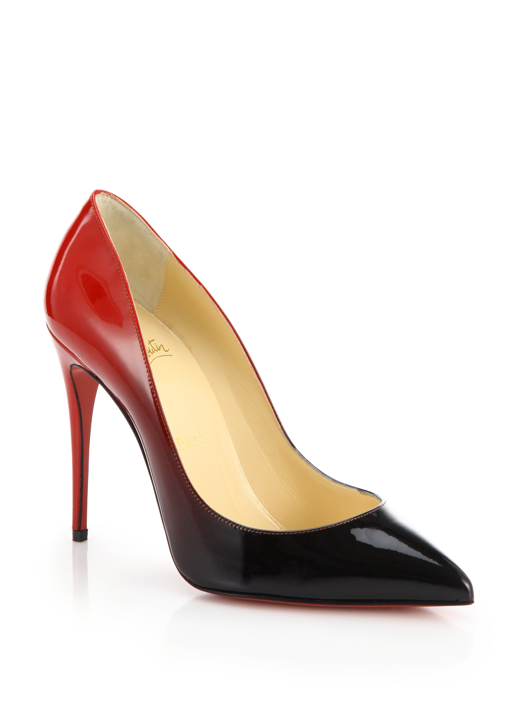 16e6af6792b ... denmark lyst christian louboutin pigalle ombre patent leather pumps in  black dbe14 1dc12