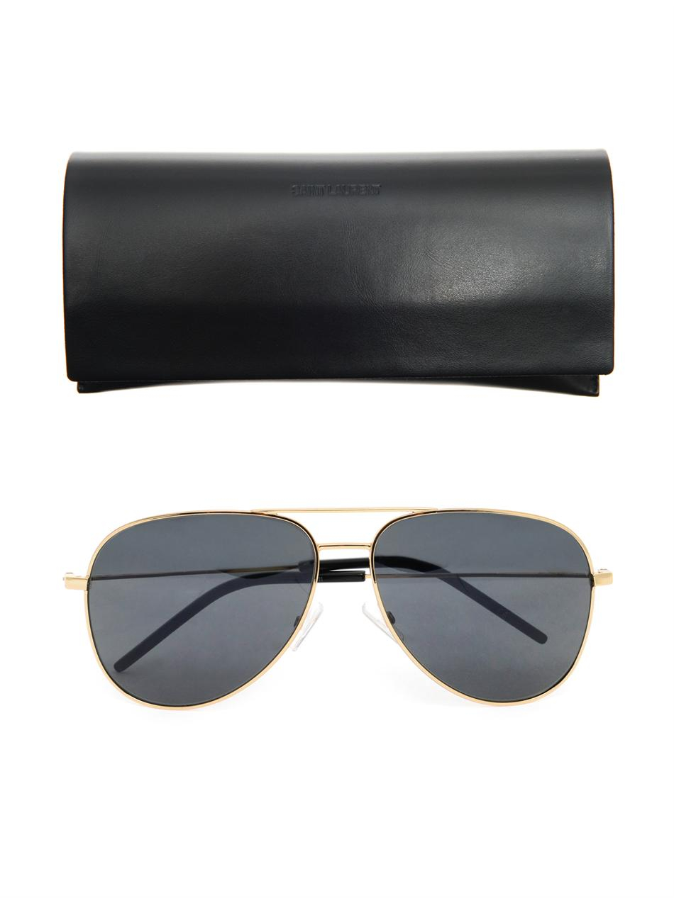 5e9b29ccf59a Saint Laurent Classic 11 Aviator-Style Sunglasses in Metallic for ...