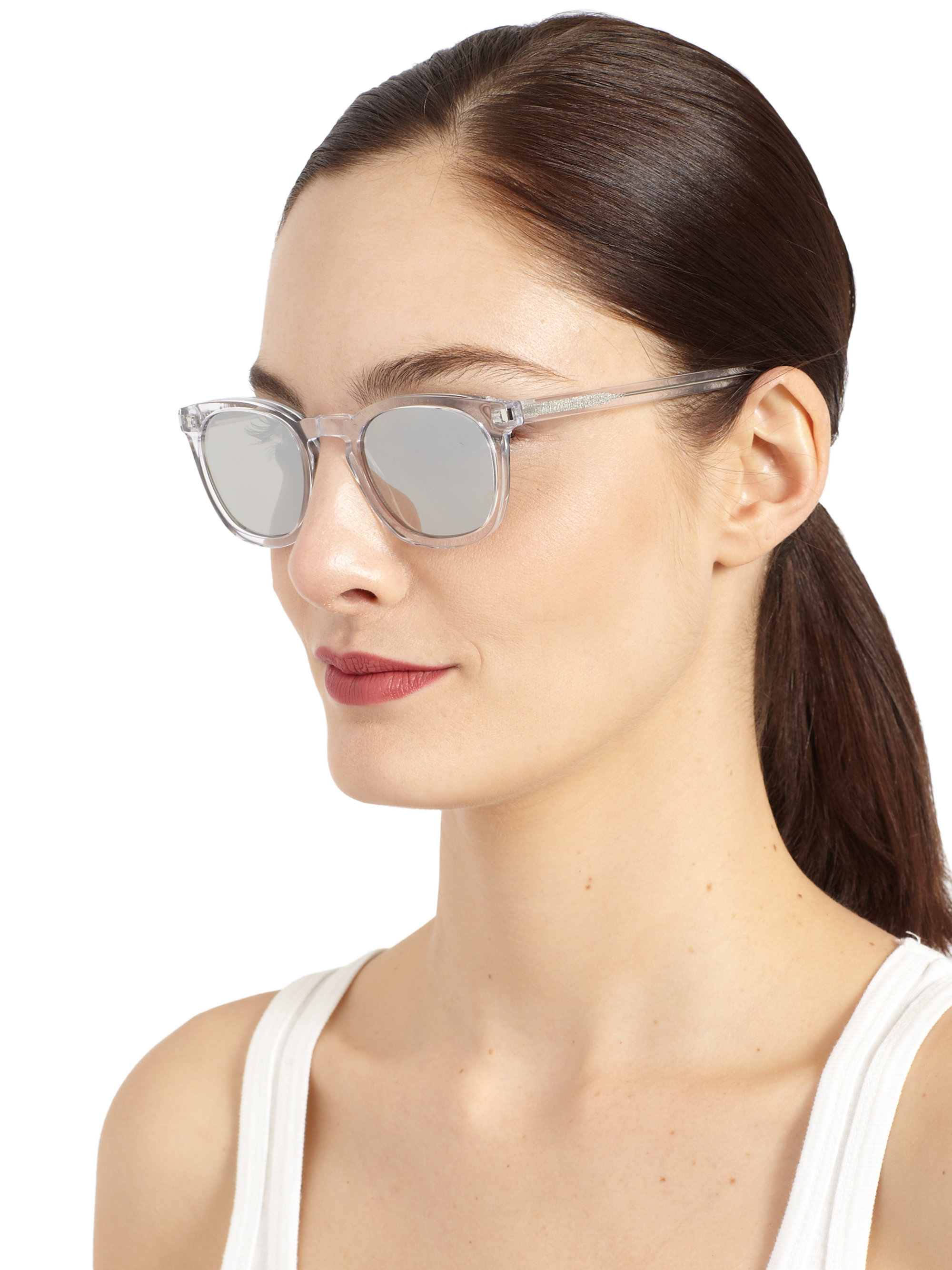 7055ca1b70f Lyst - Saint Laurent Round Acetate Mirrored Sunglasses