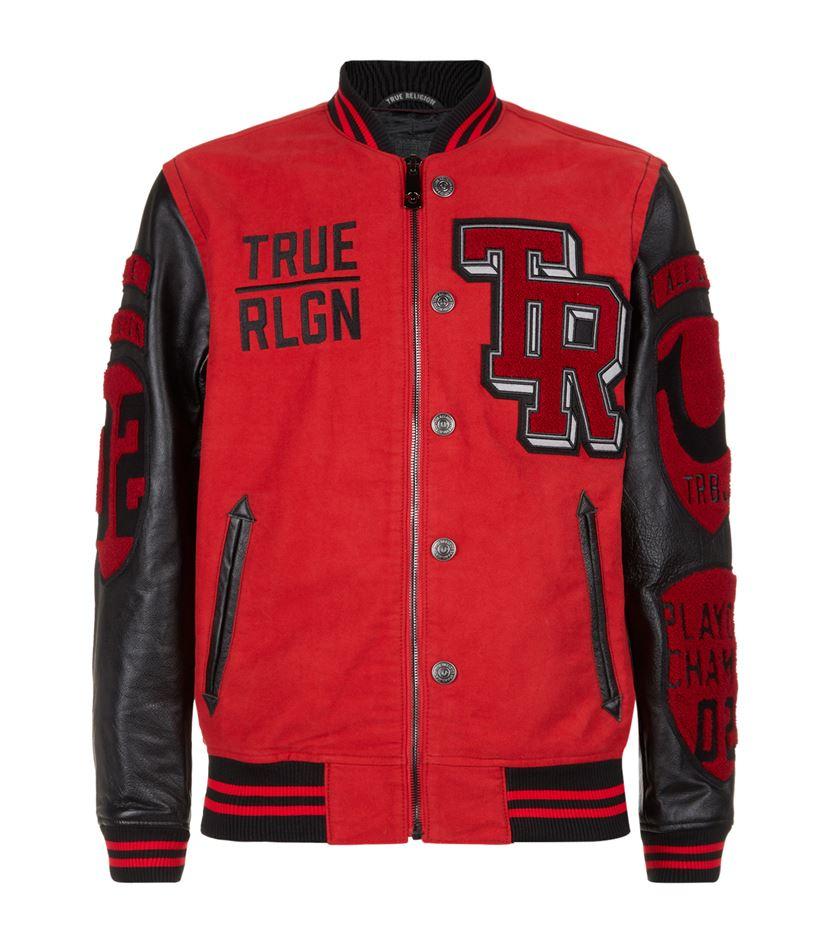 true religion varsity badge jacket for men lyst. Black Bedroom Furniture Sets. Home Design Ideas