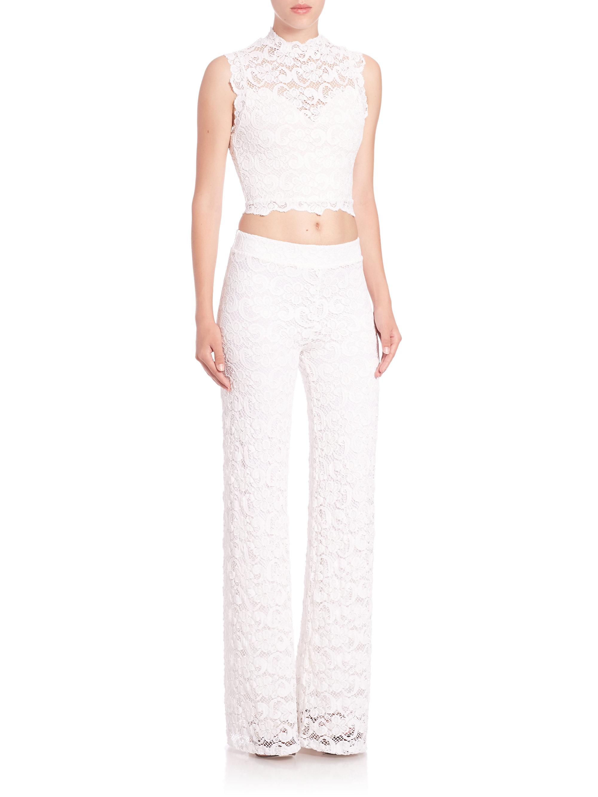 821d5e689980f2 Lyst - Nightcap Dixie Lace Crop Top in White