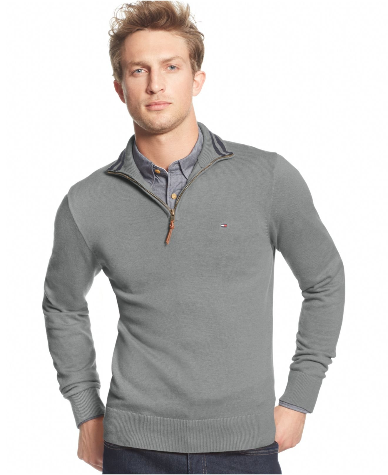 cfbbc4a1f Tommy Hilfiger Signature Solid Quarter-zip Sweater in Gray for Men ...
