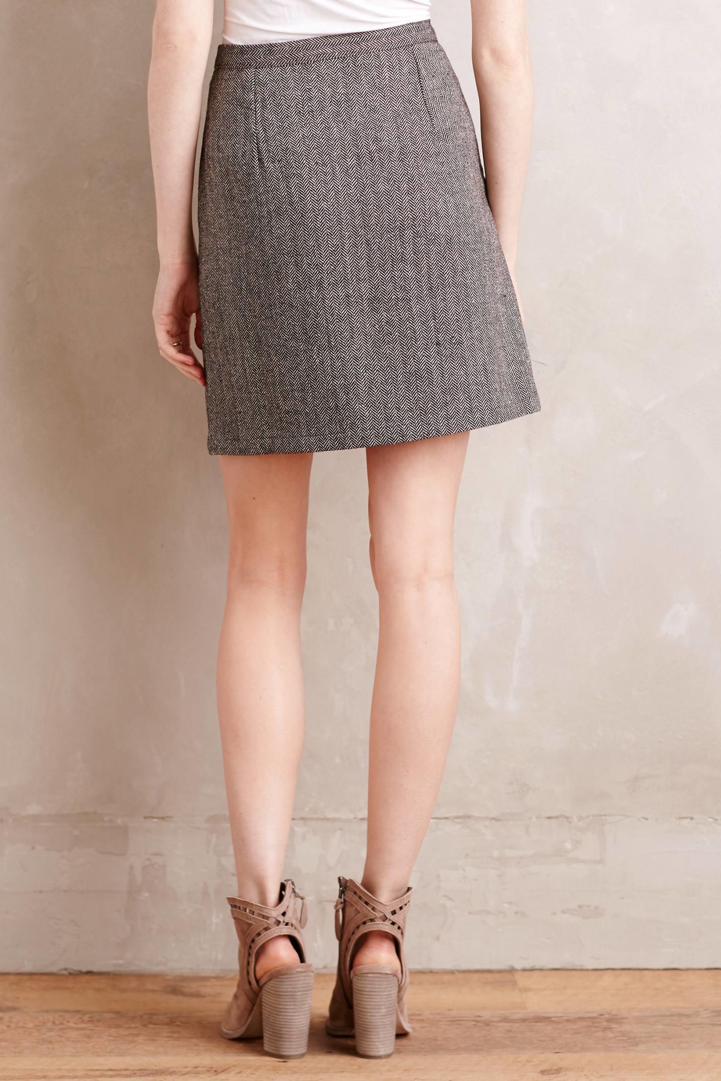 Hemant & nandita Embroidered Wool Mini Skirt in Gray | Lyst
