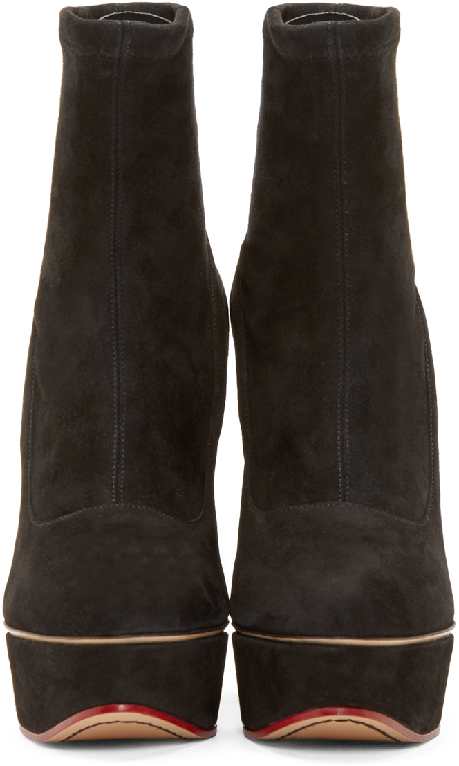 Charlotte Olympia Black Suede Blanka Boots