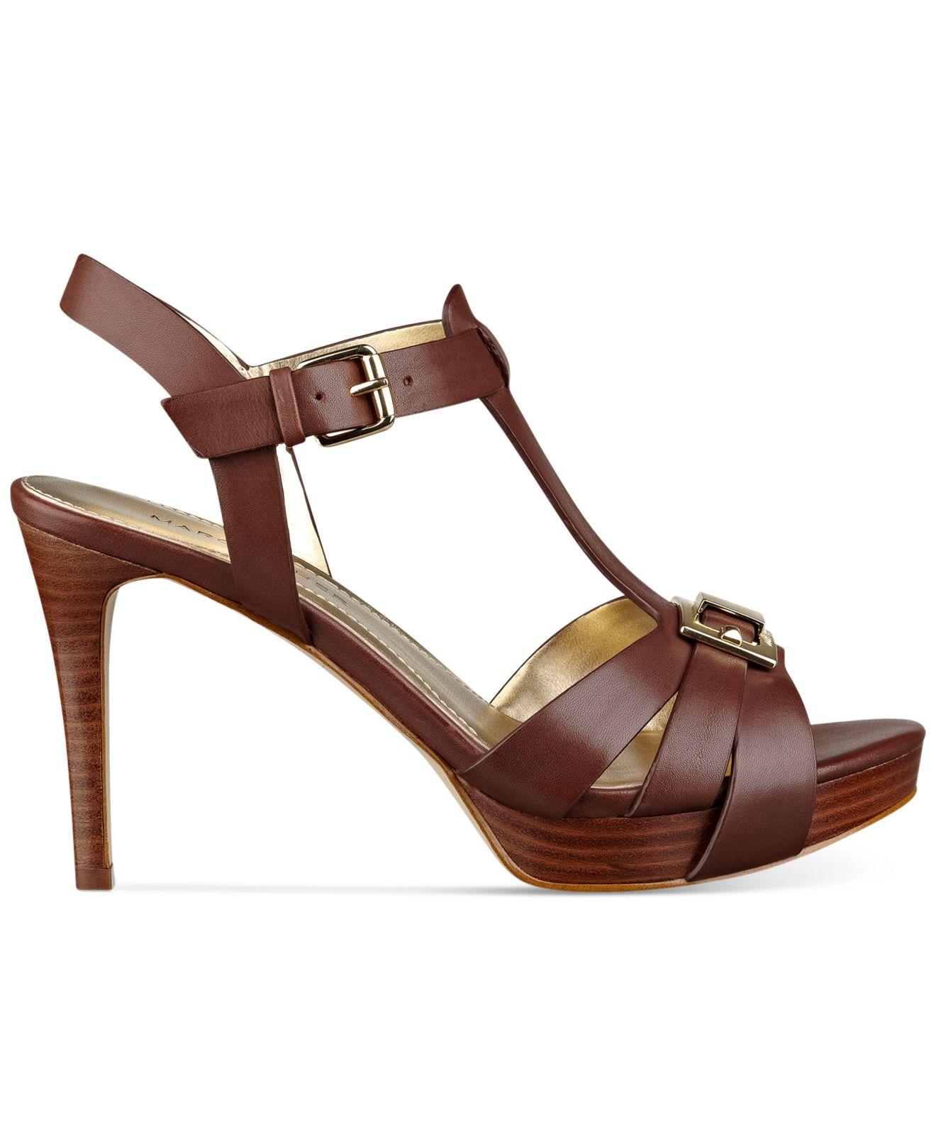 marc fisher varika mid heel platform sandals in brown lyst