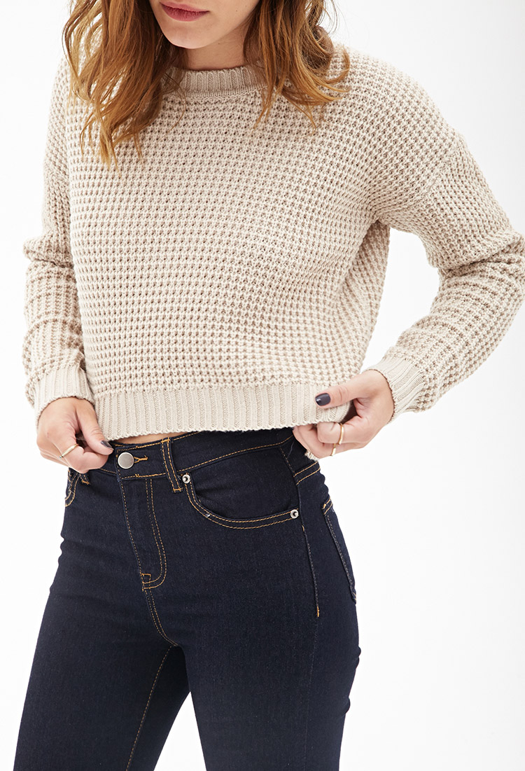 Forever 21 Cropped Waffle Knit Sweater in Natural | Lyst