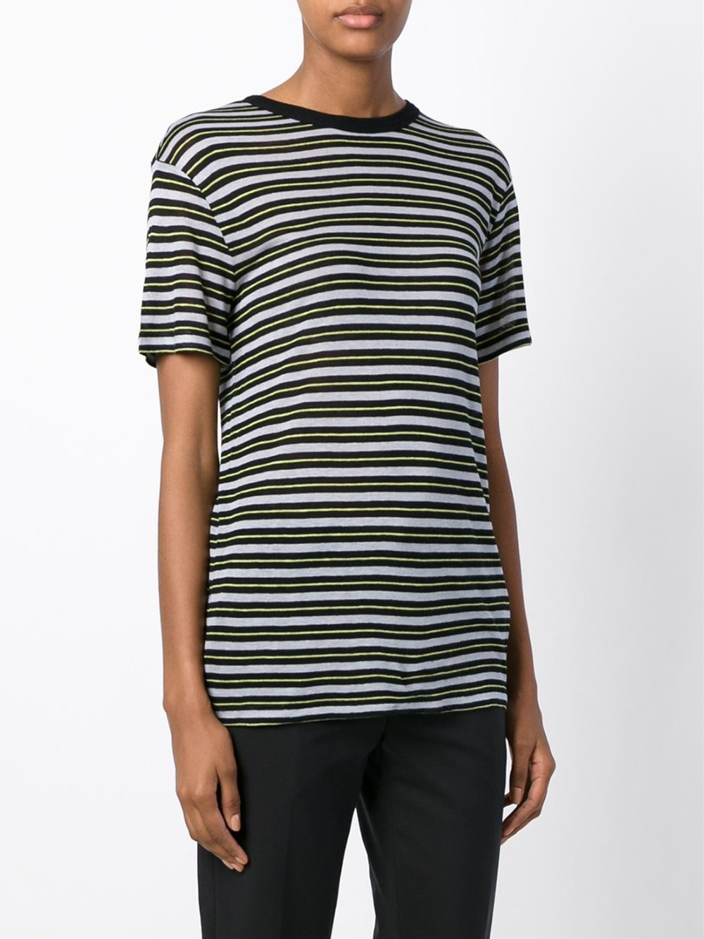T by alexander wang striped t shirt in black lyst for Alexander wang t shirts