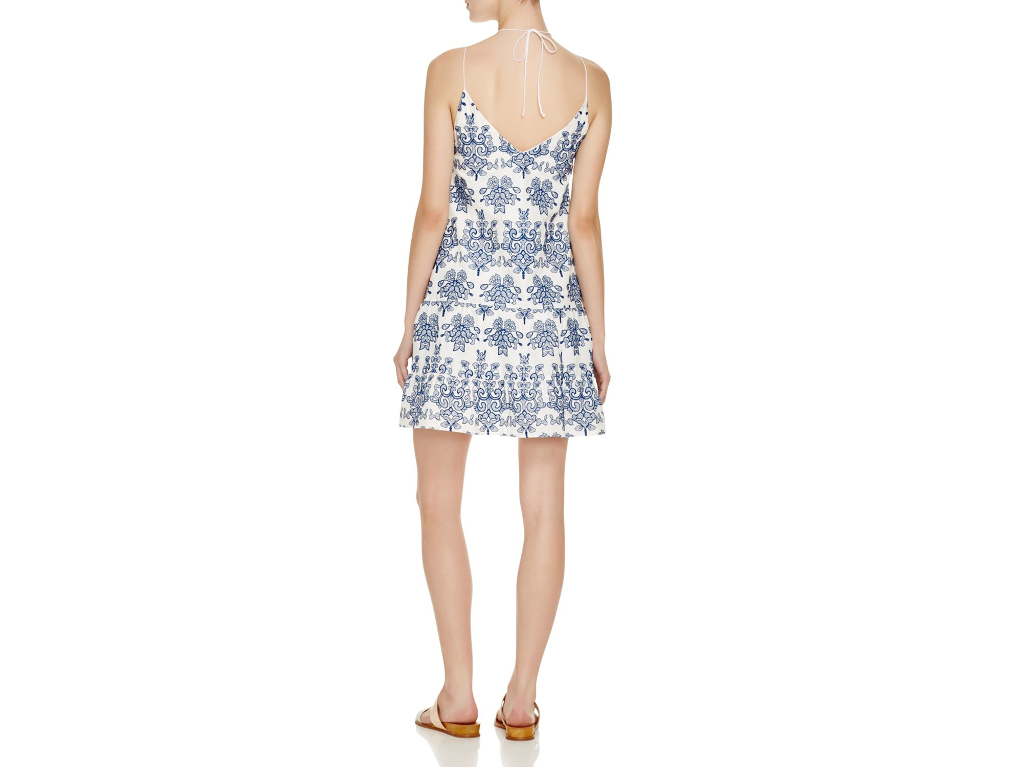 N nicholas embroidered lace up mini dress in blue lyst