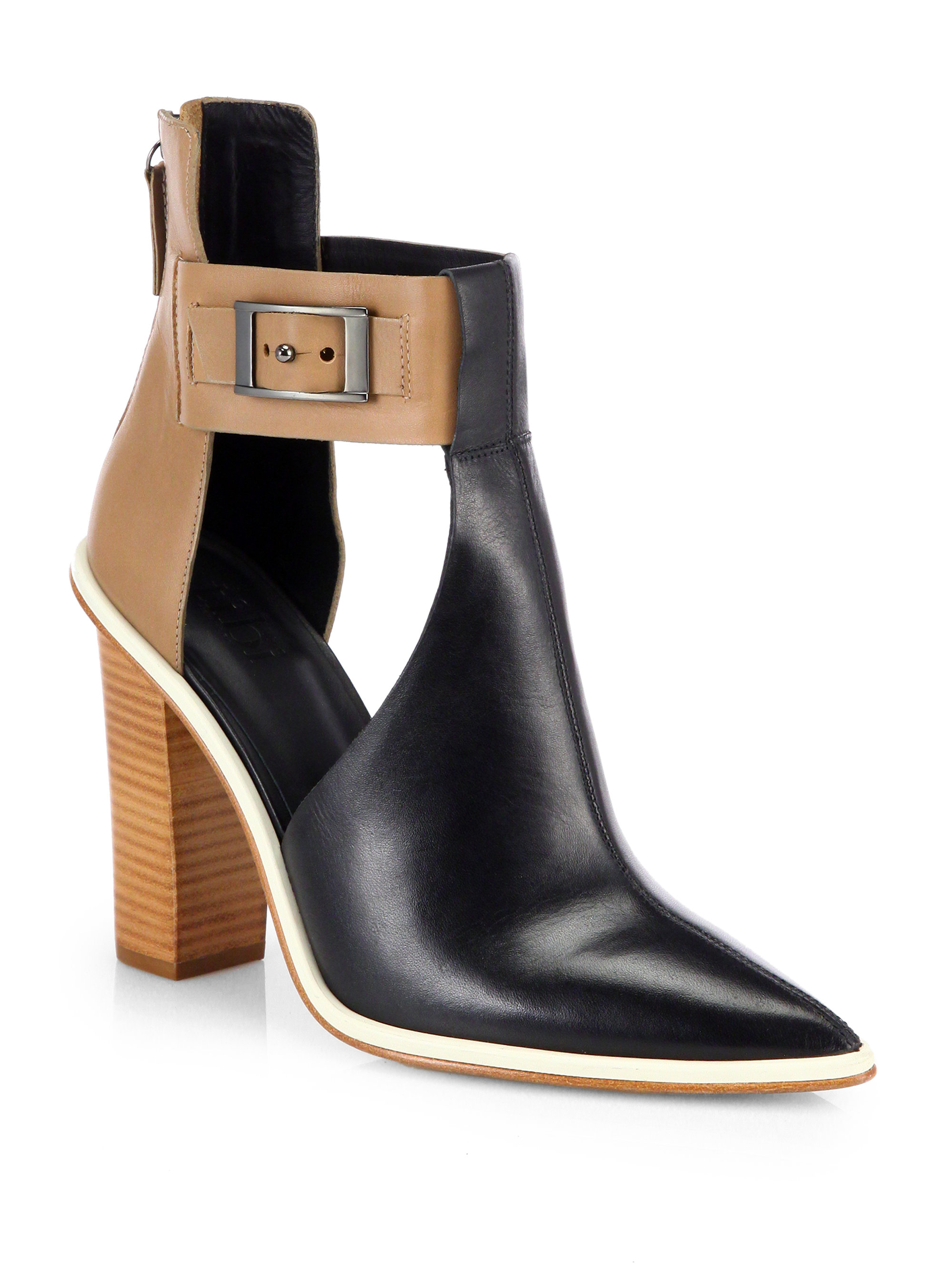 235913828a3 Tibi Black Leather Two-Tone Cutout Ankle Boots