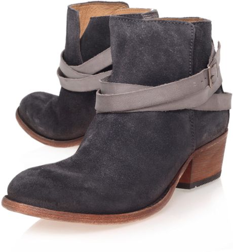 h by hudson grey horrigan low heel ankle boots in gray for
