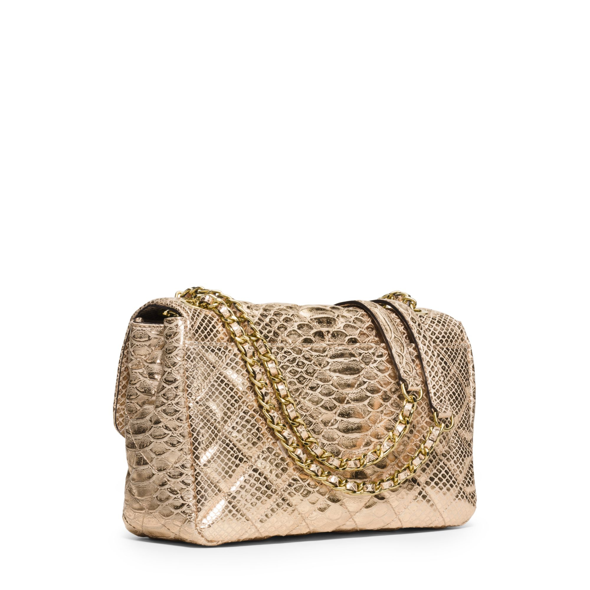314a1c5a5466 low cost michael kors sloan large metallic embossed leather shoulder bag in  metallic lyst eeb64 cc45e