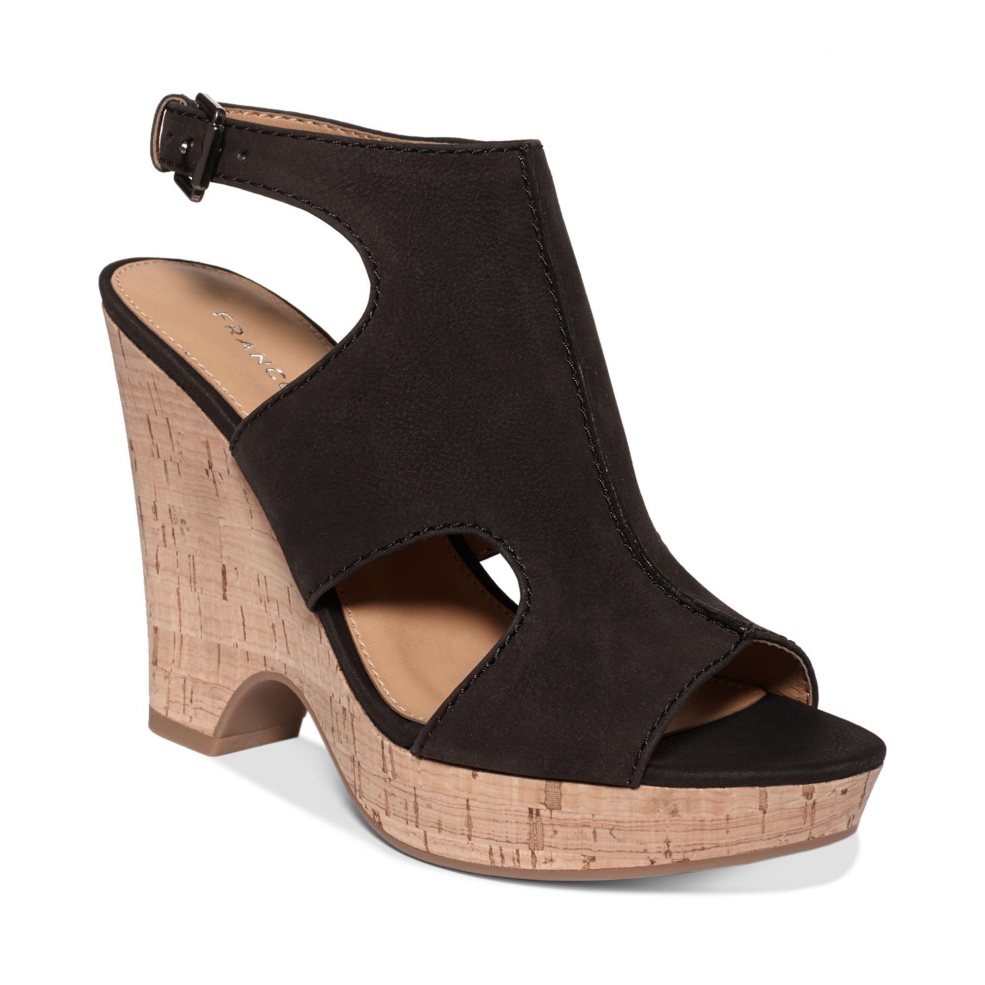 lyst franco sarto glamour platform wedge sandals in black